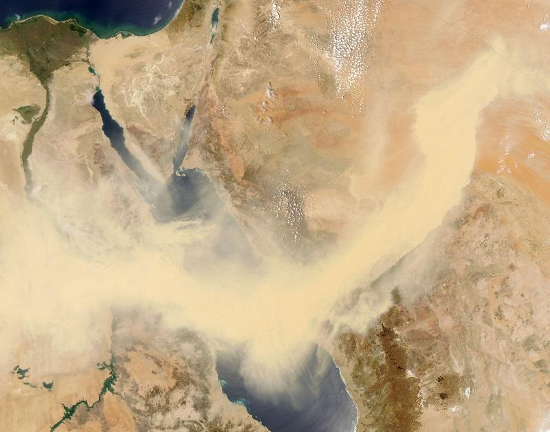 סופת חול בדרך לישראל צילום נאסא