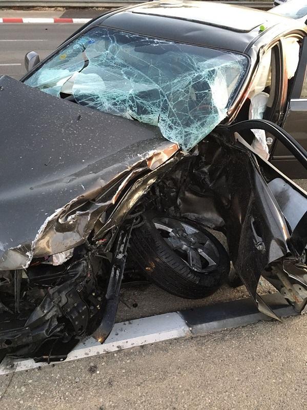 הרכב של אודליה לאחר התאונה