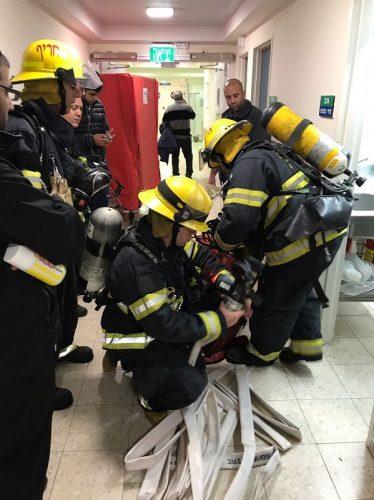 תרגיל שריפה בקפלן (צילום: אופיר לוי, דובר בית החולים קפלן)