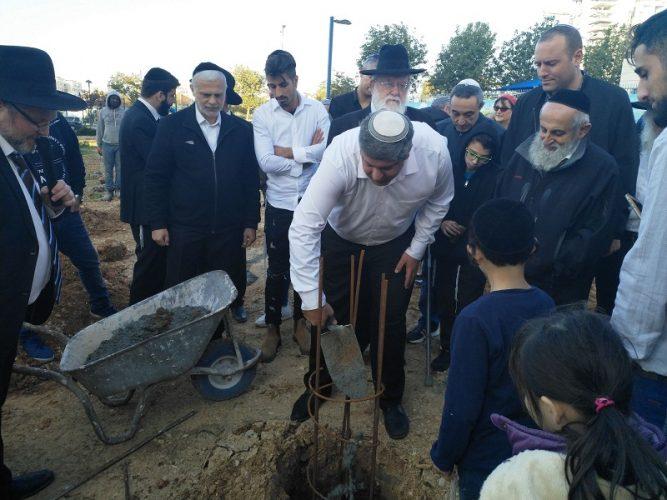 הנחת אבן הפינה לבית הכנסת 'אור ציון'