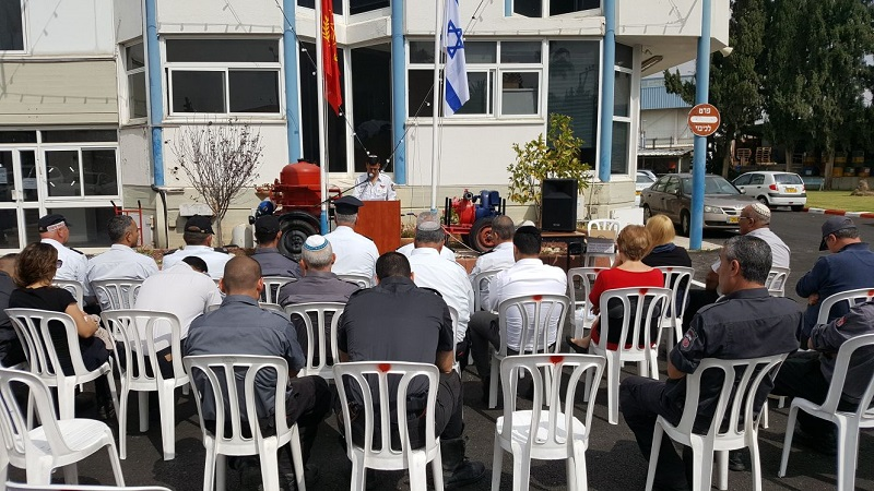 טקס יום השואה בתחנת הכיבוי ברחובות