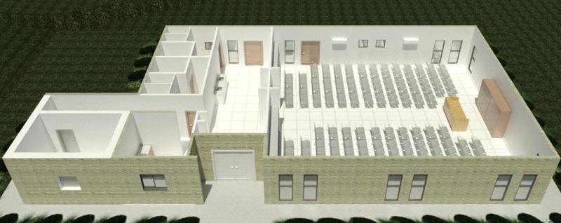 הדמיה של בית הכנסת החדש במזכרת בתיה - מבט מבפנים