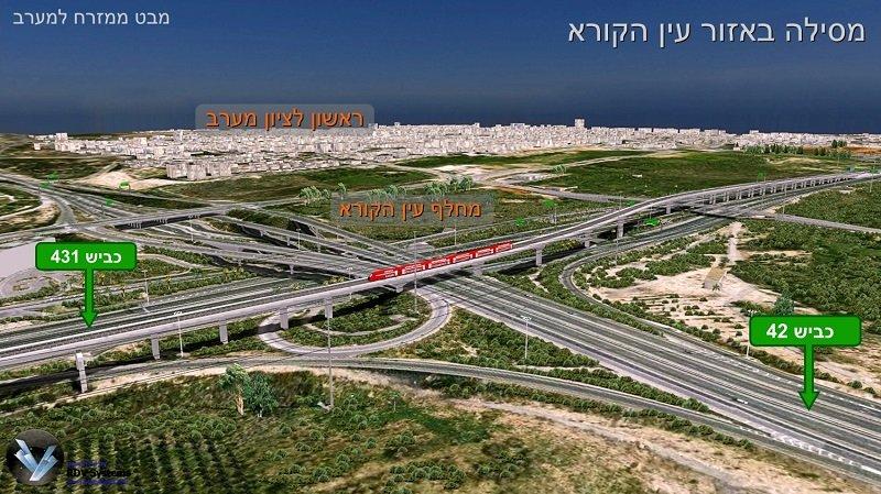 מסילת 431 באזור עין הקורא (הדמיה: ד.א.ל הנדסה, משרד אמר-קוריאל)