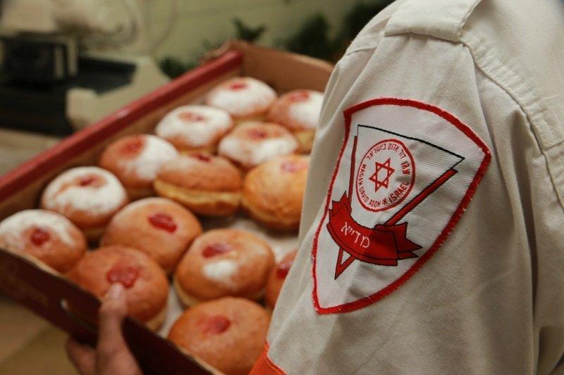 """מתנדבי מד""""א בחלוקת סופגניות (צילום: אבו סעיד, תיעוד מבצעי מד""""א)"""