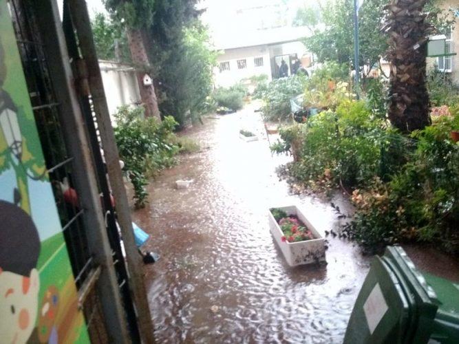 גן ילדים ברחוב ה' באייר ברחובות פונה בעקבות הצפה (צילום: דוברות איחוד הצלה)