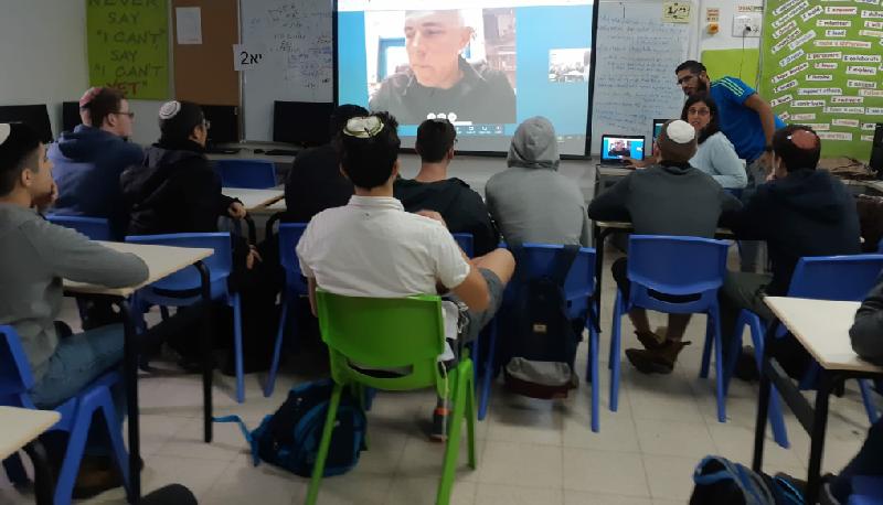 """תלמידי אמי""""ת עמיחי בפגישה וירטואלית עם נשיא מכון ויצמן פרופסור אלון חן"""