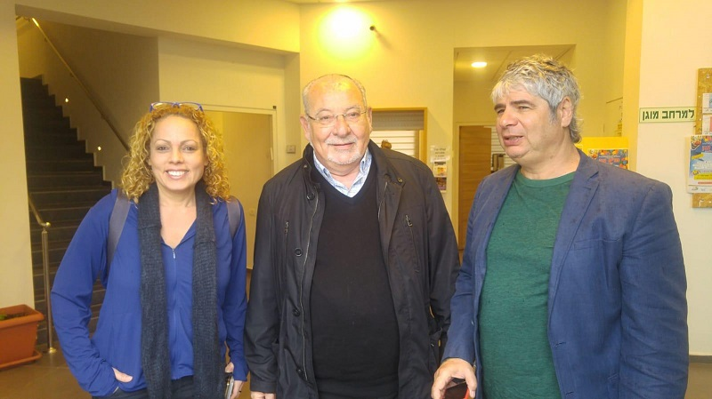 אורלי וילנאי וגיא מרוז עם ראש העיר רחמים מלול