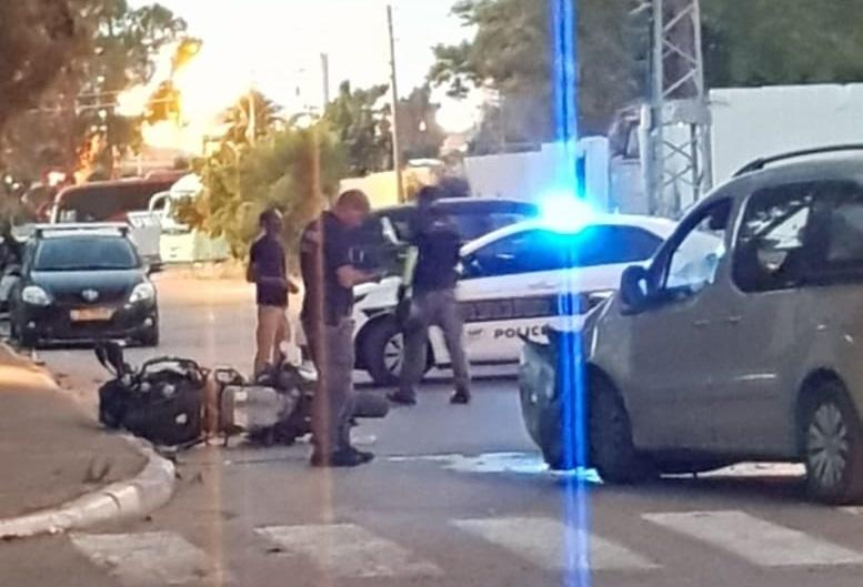 """זירת תאונת האופנוע של שוטר היס""""מ"""