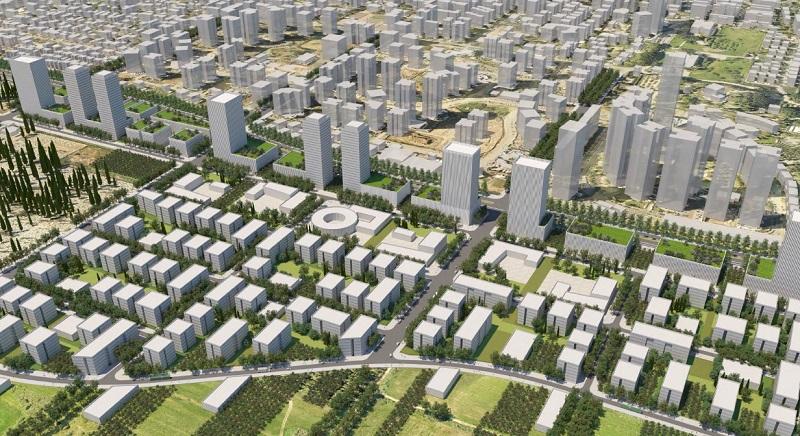 הדמיה של מזרח העיר רחובות לאחר הקמת השכונה החדשה