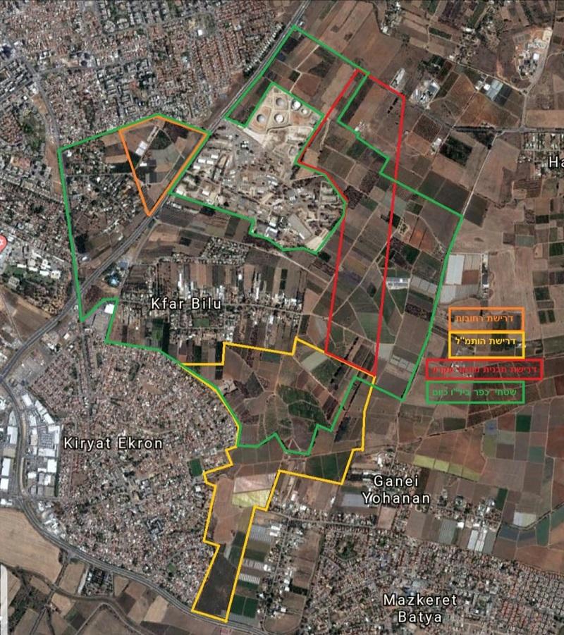 """מפת האיומים על כפר ביל""""ו (גרפיקה: חנה ערן)"""