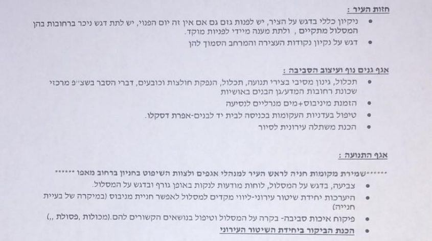 מסמך המעיד על ההכנות של עיריית רחובות לתחרות קריה יפה בישראל יפה