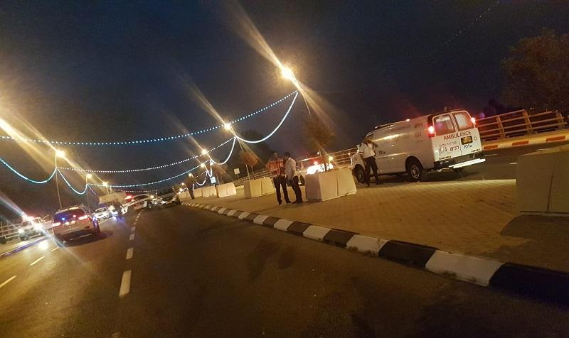 """תאונת דרכים בגשר פארק המדע (צילום: שמעון פרש, תיעוד מבצעי מד""""א)"""