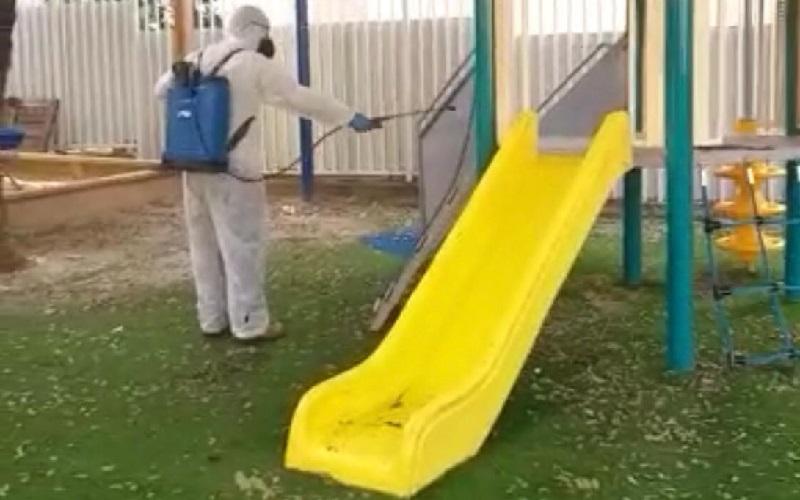 חיטוי גני ילדים ברחובות מפני קורונה